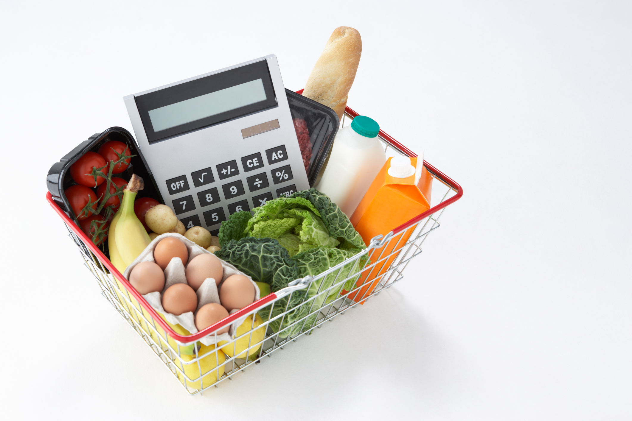 basket of groceries and calculator njbc